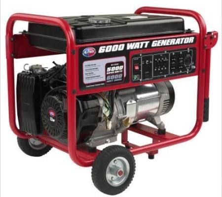 All Power 6000 Watt Gasoline Generator with battery & Wheel Kit